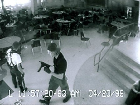The two shooters caught on Columbine's high school's security cameras in the cafeteria.
